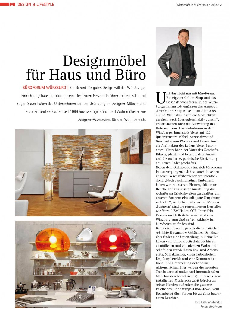 artikel in der wirtschaft in mainfranken designm bel f r haus und b ro. Black Bedroom Furniture Sets. Home Design Ideas